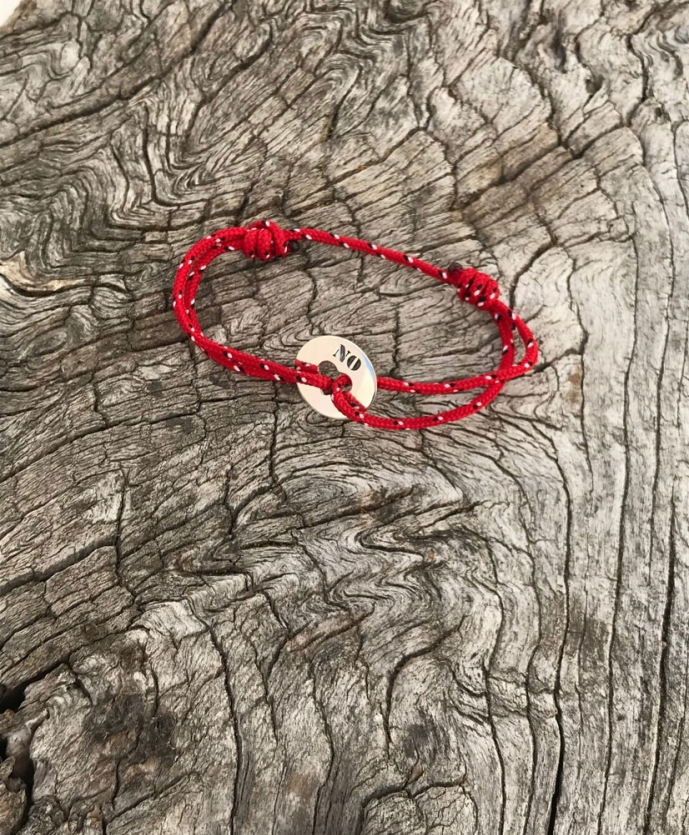 Bracelet coeur plaque NO